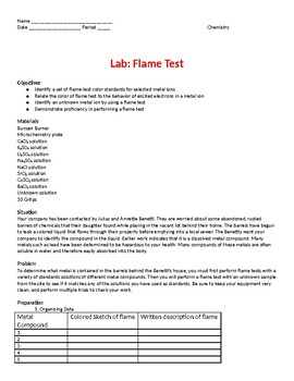 Flame Test Lab for Electron Quantum Energy of Light