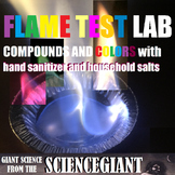 Flame Test Lab of Compounds and Colors with hand sanitizer