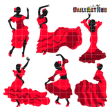 Flamenco Dancers Silhouettes Clip Art - Great for Art Class Projects!