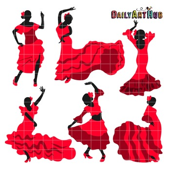 Flamenco Dancers Silhouettes Clip Art - Great for Art Clas
