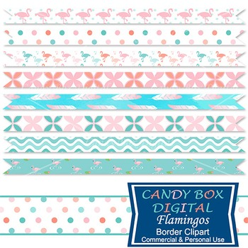 Flamingo And Feather Ribbon Border Clip Art