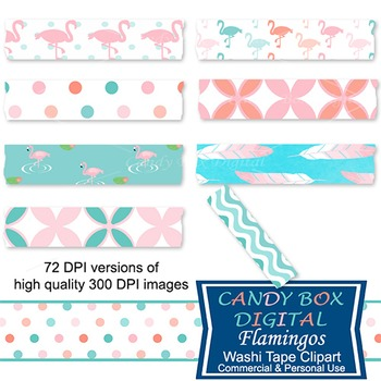 Flamingo And Feather Washi Tape Clip Art