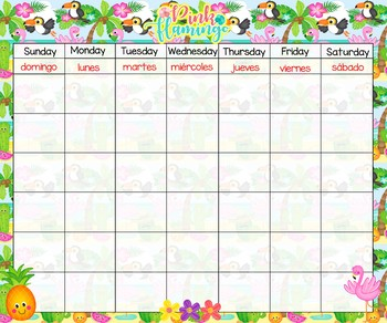 Flamingo Bilingual Calendar 24x20 numbers and months
