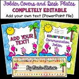 Flamingo Binder/Folder Covers and Desk Plates COMPLETELY EDITABLE