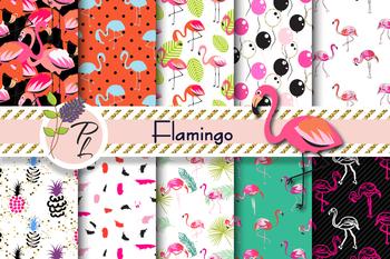 Flamingo Birds Seamless Pattern Set. Digital paper pack.