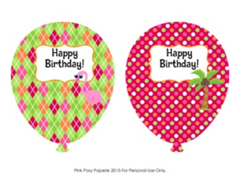 Flamingo Birthday Balloons (4 different designs)