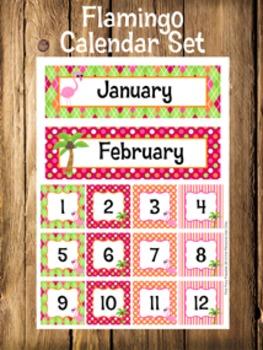 Flamingo Calendar Set - Months - Days - Numbers