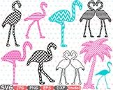 Flamingo Chevron Monogram SVG Silhouette clipart Studio3 cameo vinyl Diy 36sv