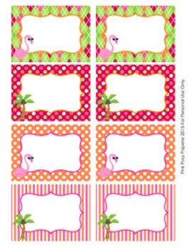 Flamingo Classroom Decor Bin Tag Labels