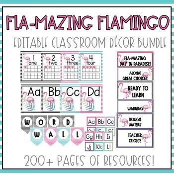 Flamingo Classroom Decor *EDITABLE BUNDLE*