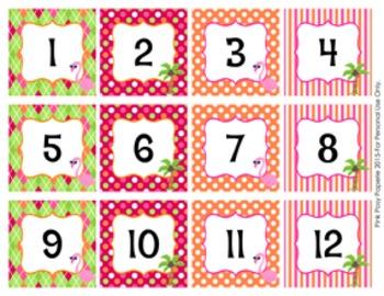 Flamingo Classroom Decor Monthly Calendar Numbers