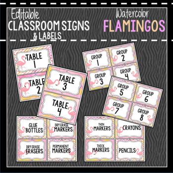 Flamingo Classroom Decor, Signs and Labels: Editable