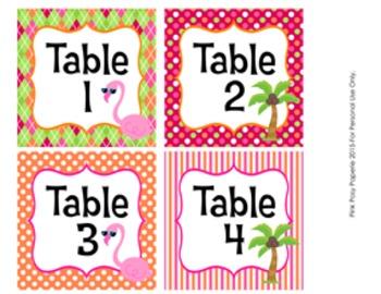 Flamingo Classroom Decor Table Numbers