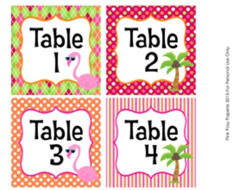 Flamingo Classroom Decor Table Numbers