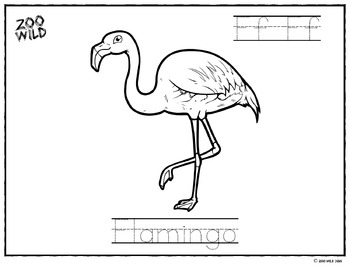 Flamingo Coloring Page -- Letter Practice -- Homeschool or Elementary Fun