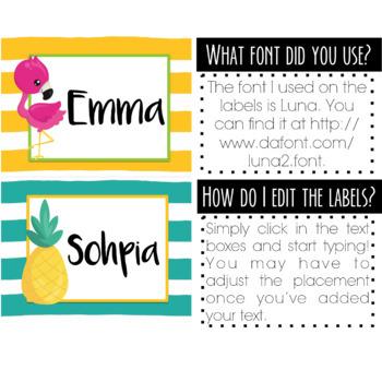Editable Flamingo Cubby Labels