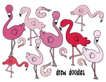 Flamingo Digital Clip Art Set