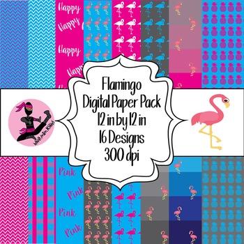 Flamingo Digital Paper- 16 Designs- 12 by 12- 300 dpi