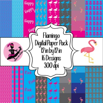 Flamingo Digital Paper- 16 Designs- 12 by 12- 300 dpi