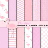 Flamingo Digital Paper + Clipart