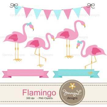 Flamingo Digital Paper and clipart