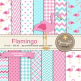 Flamingo Digital Paper and clipart
