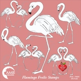 Flamingo Digital Stamps, Flamingo coloring page, black and white line,  AMB-1039