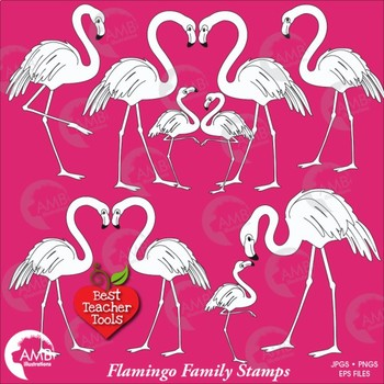 Flamingo Digital Stamps, Flamingo coloring page, black and white line,  AMB-1040
