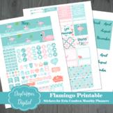 Flamingo Erin Condren Monthly Planner Printable Stickers
