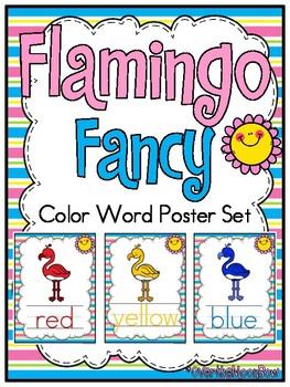 Flamingo Fancy   Color Words Poster Set