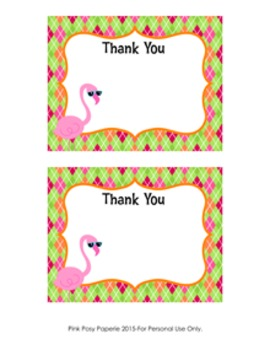 Flamingo Flat Thank You Note Cards