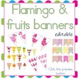 Tropical Flamingo Fruits Editable Pennants