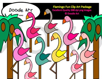 Flamingo Fun Clipart Pack
