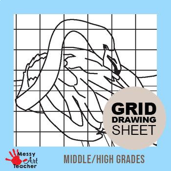 Flamingo Grid Drawing Worksheet for Middle/High Grades