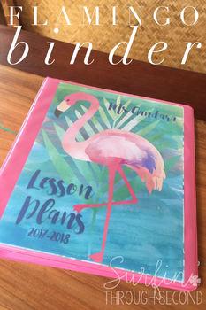 Flamingo Love Editable Teacher Lesson Planner / Binder 2018-19