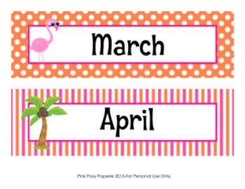 Flamingo Monthly Calendar Headers