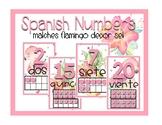 Flamingo Number Posters-Spanish