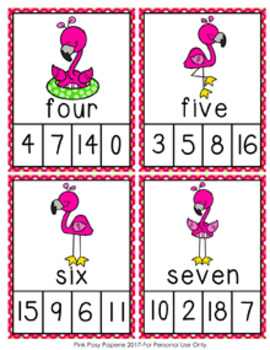 Flamingo Number Words Clip Cards