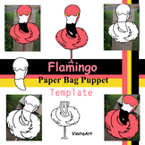 Flamingo Paper Bag Puppet Template