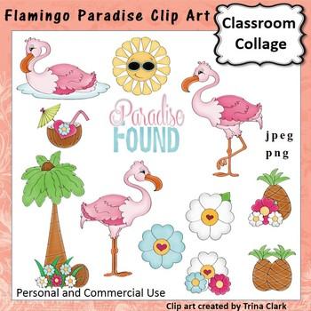 Flamingo Pardise Clip Art - color - personal & commercial use