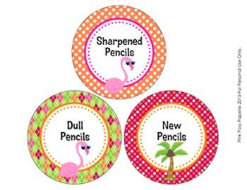 Flamingo Pencil Caddy Labels