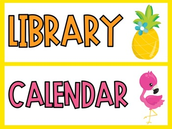 Flamingo & Pineapple Class Schedule Cards