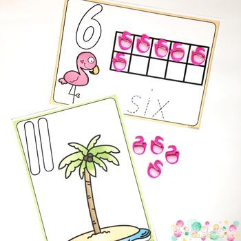 Flamingo Playdough Number Mats