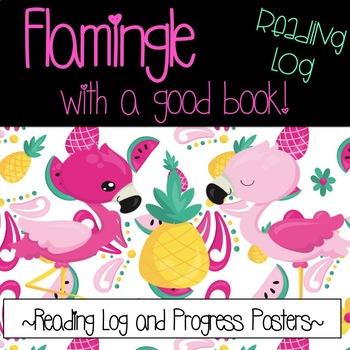 Flamingo Reading Log and Progress Posters