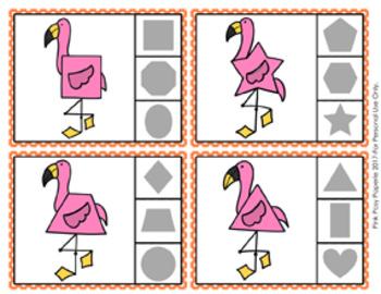 Flamingo Shapes Clip Cards