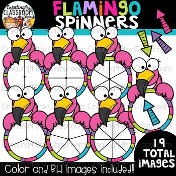 Flamingo Spinners Clipart {Math Clipart}