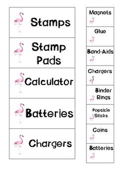 Flamingo Teacher Toolbox Label Cards