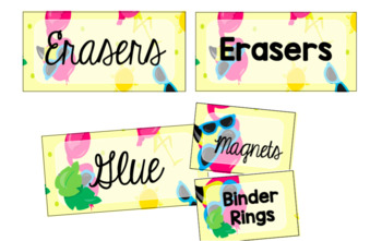 Flamingo Teacher Toolbox Labels (Editable)