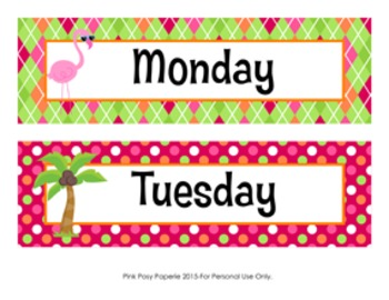 Flamingo Theme Days of the Week Calendar Headers