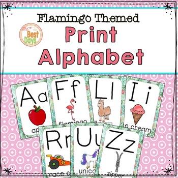 Flamingo Theme Decor Alphabet Posters:  Print Alphabet